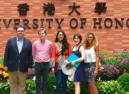 Historians in front of Hong Kong University sign