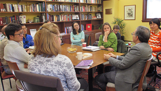 Group discussion in the Reading Room